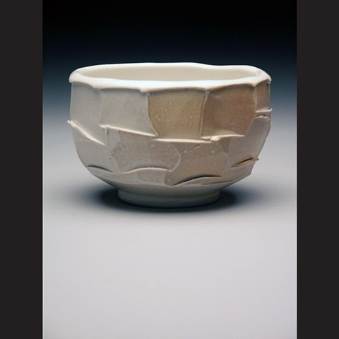 Bowl, faceted, salt fired porcelain, wheel thrown, pottery, ceramics, Paul Ide, functional, cone 10