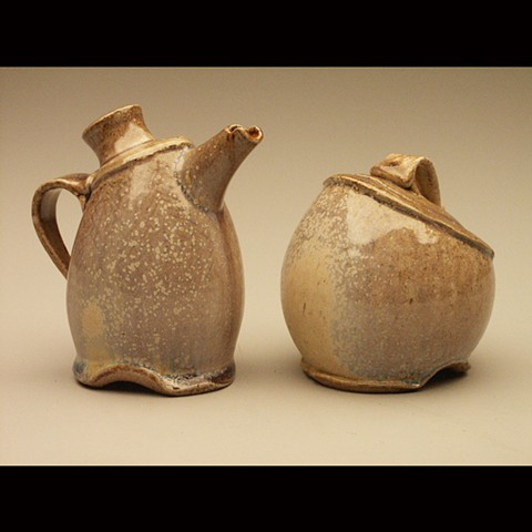 Cream and Sugar Set, salt fired stoneware, wheel thrown, pottery, ceramics, Paul Ide, functional, cone 10