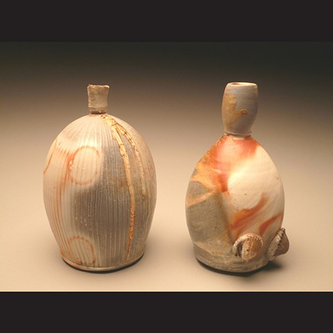 Bottles, wood fired porcelain, wheel thrown, pottery, ceramics, Paul Ide, functional, cone 10