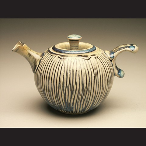 Teapot, salt fired stoneware, wheel thrown, pottery, ceramics, Paul Ide, functional, cone 10