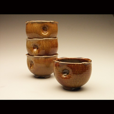 Dented bowls, salt fired stoneware, wheel thrown, pottery, ceramics, Paul Ide, functional, cone 10