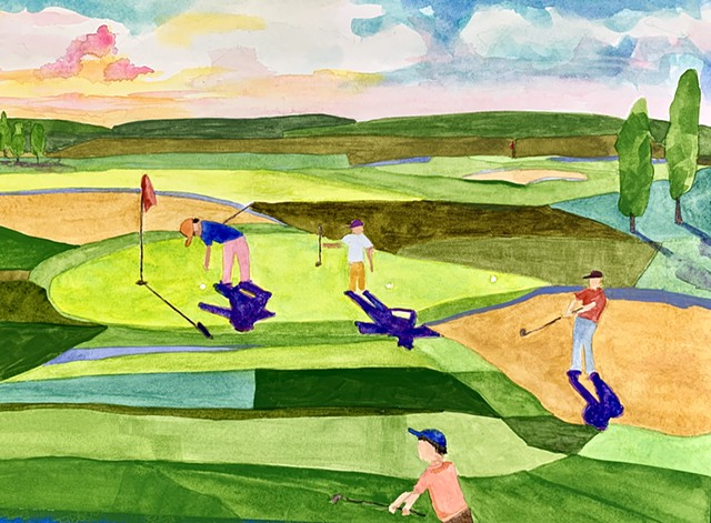 Abstract art golf art landscape golf painting playing golf