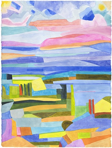 Wild colors abstracted landscape graphic broad bold colors painted loud