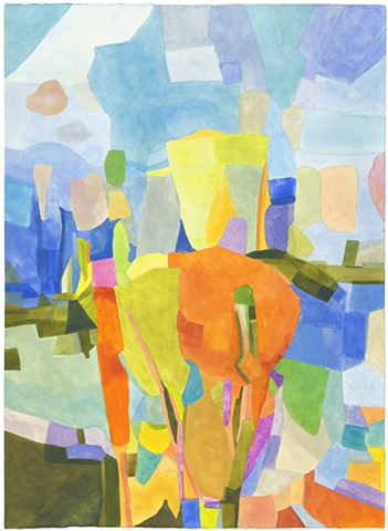 abstracted landscape, color, graphic image, broad swaths of color