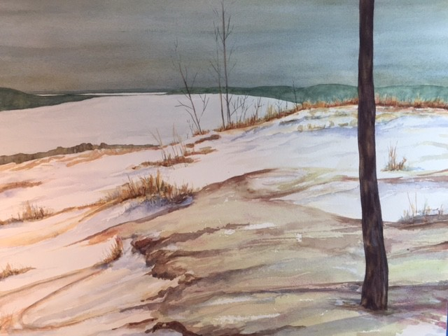 winter on top of the Sleeping Bear National Dunes Parks