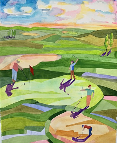 Golf Abstract landscape painting Abstract Art Golfers on Golf Course
