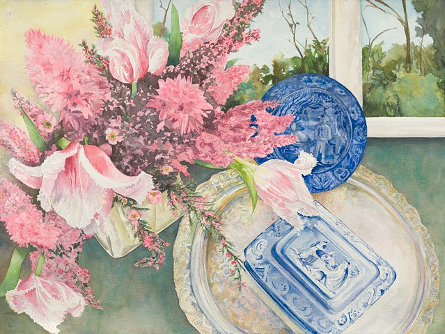 still life with blue & white& spring flowers