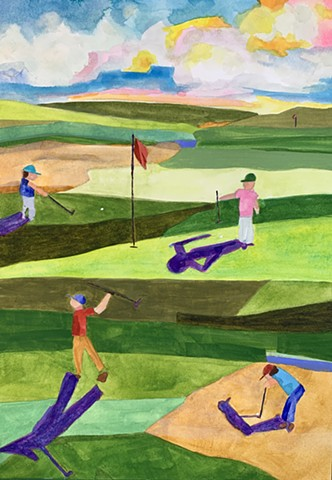 Golfers Abstarct painting landscape art golf course painting modern art