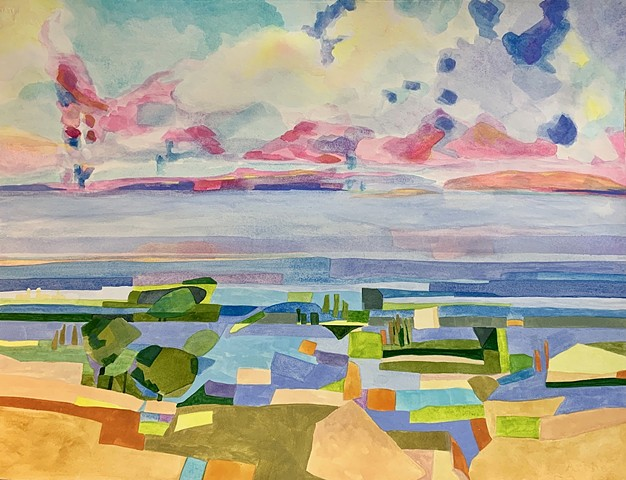 Leelanau county's rolling countryside, Abstract Landscape painting