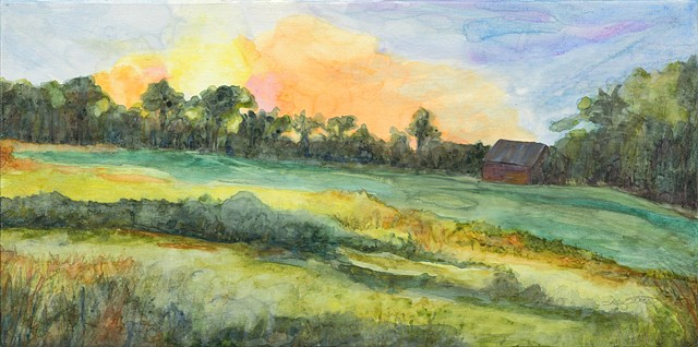 Sunrise   watercolor on canvas