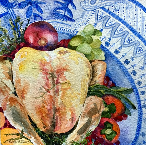 Blue and White transferware & Thanksgiving Turkey