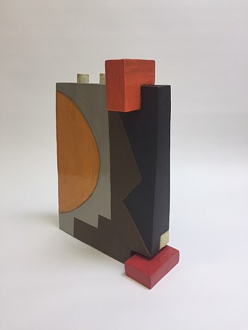 Multi-Colored Architectural Vase w/ Moving Piece (view 2)