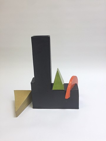 Black Architectural Vase w/ Moving Pieces (view 3)