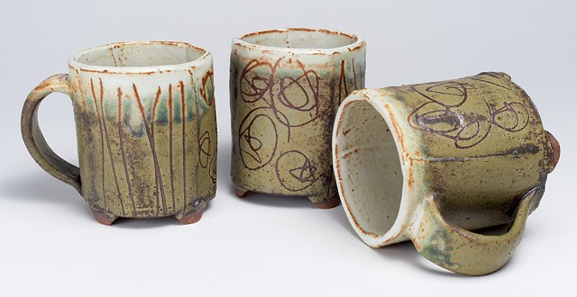 Hand Drawn Cups w/ Handles
