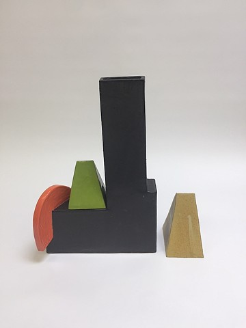 Black Architectural Vase w/ Moving Pieces (view 2)
