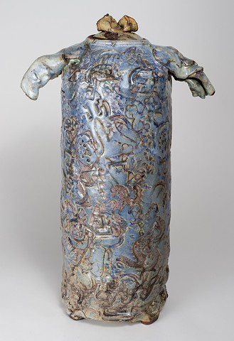 Tall Textured Cobalt Vase w/ Cover (view 1)