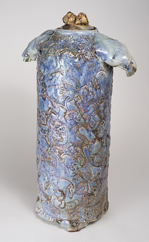 Tall Textured Cobalt Vase w/ Cover (view 2)