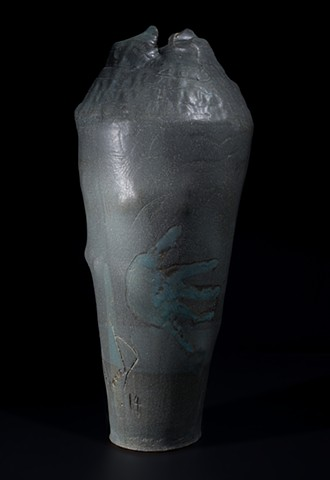 Alternate view of handprint vase