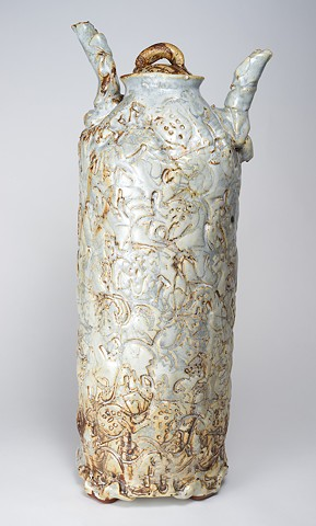 Tall Textured Vase w/ Cover (view 1)