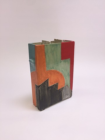 Squared Vase w/ Geometric Shapes (view 2)