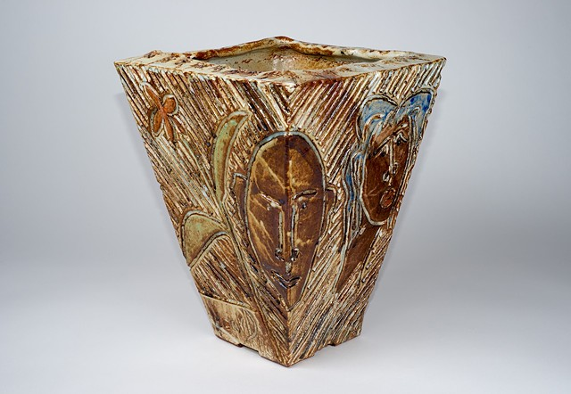 Extra Large Flower Pot w/ Carvings