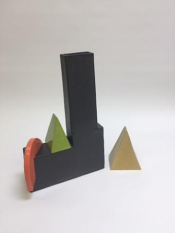 Black Architectural Vase w/ Moving Pieces (view 1)