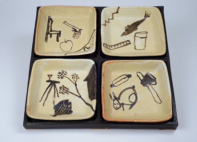 Black Tray w/ Hand Drawn Plates #2