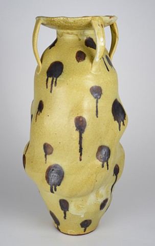 Tall Yellow Vase w/ Spots (view 1)