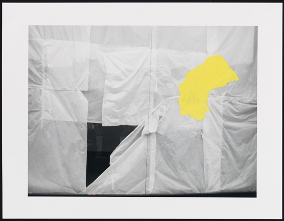 Untitled (papered shop window and yellow shape)