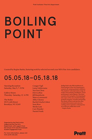 My work will be included in the group exhibition 'Boiling Point' curated by Regine Bashaat Boiler | Pierogi Gallery