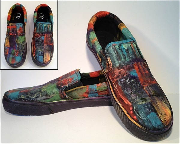 Custom painted OP slip-ons (but they could be Vans Converse!) by Eileen Murray Art, bright layered colors with an ocean aquatic overtone