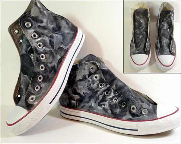 Custom painted black and white fatigue Converse high-tops by Eileen Murray