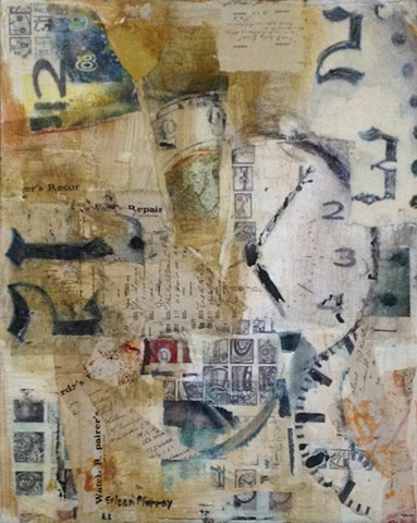 Clocks, time, layers, collage, mixed media