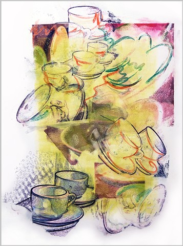 coffee, cups, tea, collage, mixed media