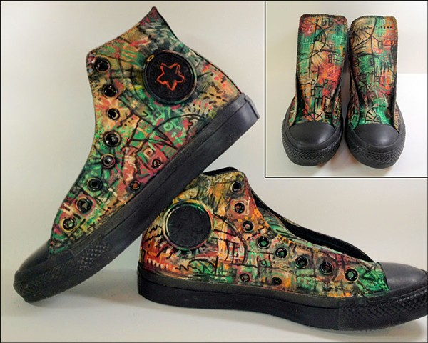 "Inspired by ""Annabelle Lost,"" painted shoes by Eileen Murray, custom created"