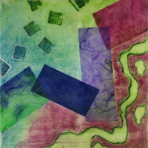 abstract, encaustic, pastel, paper, oil stick