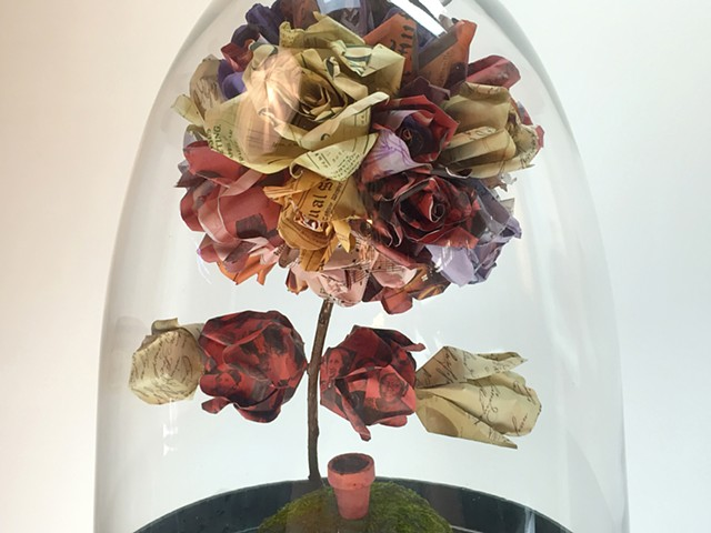 """Herstory"" metal and paper roses depicting famous women sculpture by Water Kerner"