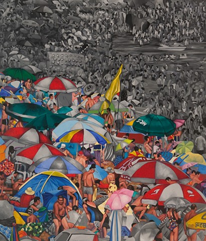 Oil Painting, crowds, gatherings, mobs, beach scene, China, old master technique, Nebraska, Artist, Lincoln, Omaha