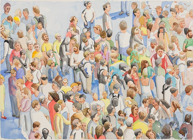 watercolor, painting, figure painting, crowds, gatherings, mobs, flash, fans, football, concert, church