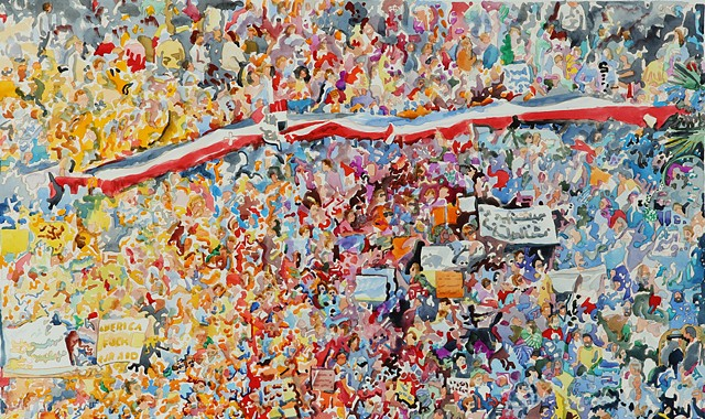 watercolor, painting, figure painting, crowds, gatherings, mobs, flash, fans, football, concert, church, Arab Spring, Tahrir Square