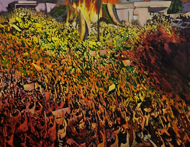 Oil Painting, Syria, Protest, Gathering, Figurative Painting, Lincoln, Nebraska, Omaha, Fire, Crowd, Riot