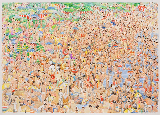 beach, china, Chinese swimmers, watercolor, painting, figure painting, crowds, gatherings, mobs, flash, fans, football, concert, church