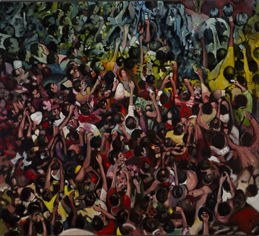 Oil Painting, Crowd, Gathering, mob, painter, Omaha, Nebraska, Lincoln, flashmob, selfie,