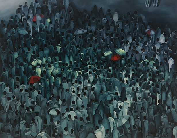 Oil Painting, Crowds, Gatherings, Pilgrimage, Mecca, Kabba, Figuration, Artist, Nebraska, Omaha, Lincoln