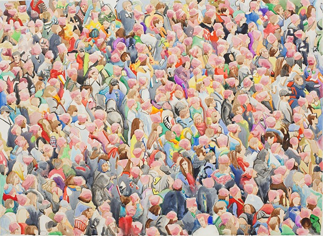 women's march, protest, watercolor, painting, figure painting, crowds, gatherings, mobs, flash, fans, football, concert, church