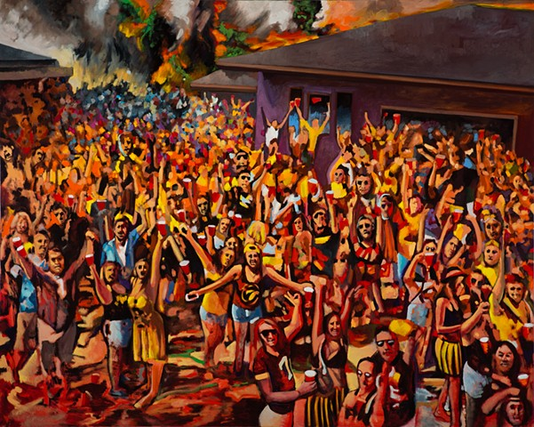 Beer Party, House party, Vodka Sam, Iowa, Football, College Party, Red Solo Cup, Wildfire, Artist, Oil Painting, Student Loan Debt, Omaha, Lincoln, Nebraska