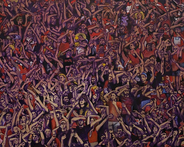 College Football Crowd, Husker Football, Lincoln, Omaha, Nebraska, Oil Painting, Artist, Crowd, Fan, Gathering, Mob Scene