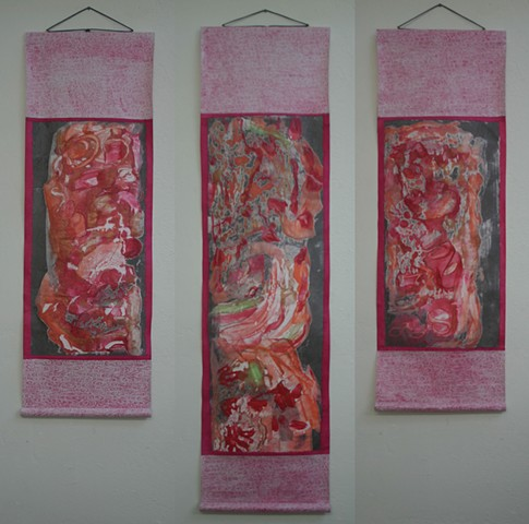 Gorgeous encaustic monotype with dramatic triptych scroll mounting