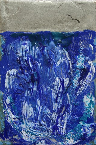 Encaustic waterfall with gull