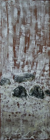 Encaustic waterfall with Rocks formed of tar on clear drafting film